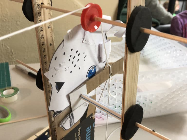 pulleys and strings on a model