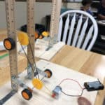 motor and pulleys on a test stand